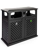Dual outdoor waste bin with basket weave design