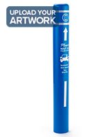 Personalized bollard post protection sleeve in blue with 52 inch height