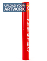 Branded plastic post bollard cover with 52 inch height red sleeve