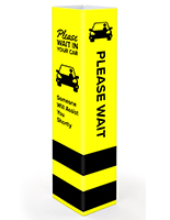 Safe distance bollard cover with stock graphic message