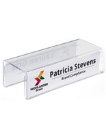Acrylic cubicle name plate bracket with double-sided design