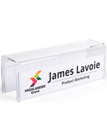 Acrylic partition name plate display for personalizing each desk space
