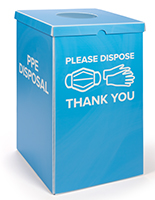 PPE corrugated plastic trash bin has 40-gallon capacity