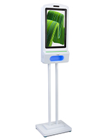 Digital hand sanitizer floor kiosk with 21.5  inch touchless screen