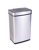 Silver rectangular motion sensor trash can