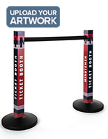 Custom printed stanchion post sleeves come in a set of two