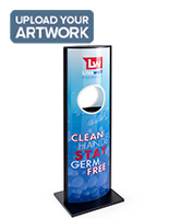 Automatic hand sanitizer advertising kiosk with full color graphics
