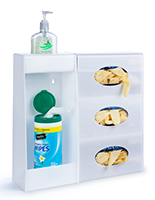 Wall mounted hygiene supply station comes in two pieces