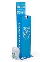 Blue cardboard sanitizer stand with pump gel dispenser
