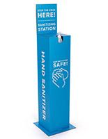 Blue cardboard hand sanitizer station