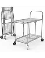 Folding steel utility cart with two shelves