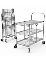 Collapsible metal service cart with polished chrome finish
