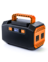 Portable battery power station with black primary color