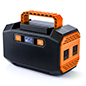 Portable battery power station with orange secondary color