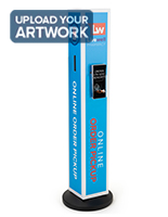 Personalized stanchion signage with literature pocket with four sided graphics