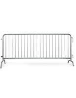 Crowd control barricade with 8 ft galvanized steel construction
