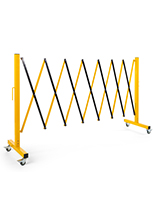 Collapsible security gate with locking wheels