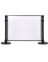 Stanchion mounted acrylic privacy panel with black steel housing