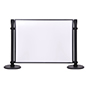 Stanchion mounted acrylic privacy panel has one quarter inch frosted pane