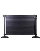 Slatwall panel for stanchions has black steel housing