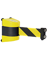 Magnetic wall mount stanchion with high visibility yellow and black