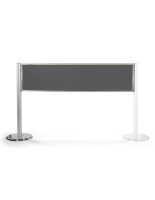 "60""w x 40""h silver post and panel stanchion banner system"