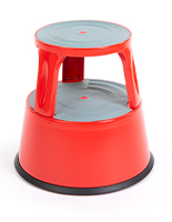 Lightweight red round rolling step stool
