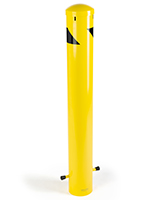 Standard underground safety bollard with yellow and black color