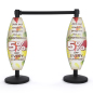 white curved coroplast stanchion sign