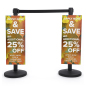straight sided high quality UV printed coroplast stanchion advertising poster