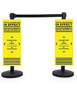 Bilingual stanchion POP distancing signs with Coroplast material