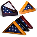 These flag cases are purchased by veterans to display a memorial or burial flag.
