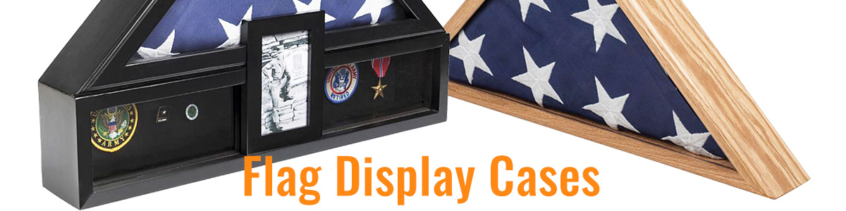 Honor a soldier's military service with wood flag display cases