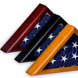 triangular wood flag display cases