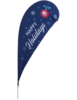"""Happy Holidays"" Teardrop Flag with Blue Snowy Background"