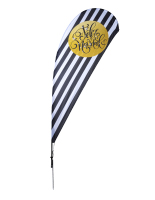 11' tall black and white feliz navidad holiday teardrop flag with festive message