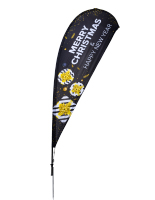 11' tall black christmas teardrop flag