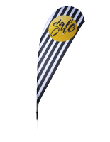 11' tall black and white holiday business flag with striped design