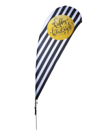 11' tall black and white happy holidays flags with gold accent
