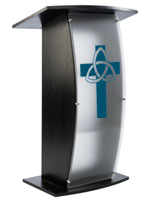 Black Pulpit with Trinity Cross has Six Silver Stand-Offs for Mounting the Front Panel