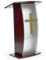 Mahogany Pulpit with Traditional Cross is Ideal Speaker's Stand for Your Church
