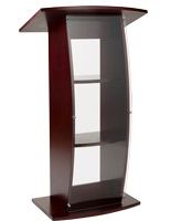 Curved acrylic mahogany pulpit with shatter-resistant front panel