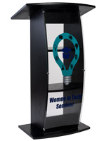 Black custom lectern with UV digital printed graphics