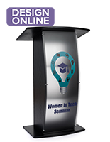 Contemporary curved lectern with cIM体育tom panel and frosted finish for privacy