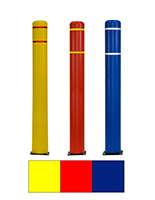Spring base parking post available in yellow, red, or blue