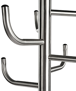 Closeup of hooks on a floor standing coat rack