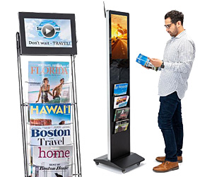 Floor standing digital literature holders