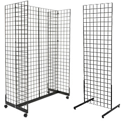 Steel wire gridwall floor standing fixtures