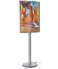 Brushed Silver 24 x 36 Curved LED Poster Stand