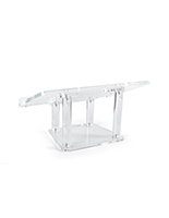 Modern acrylic tabletop podium with a 14 inch height
